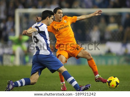 BARCELONA - JAN, 12: Angel di Maria of Real Madrid during the Spanish League match between Espanyol and Real Madrid at the Estadi Cornella on January 12, 2014 in Barcelona, Spain - stock photo