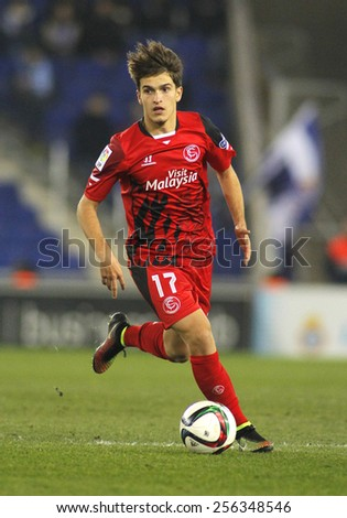 BARCELONA - JAN, 22: Denis Suarez of Sevilla FC during spanish League match against RCD Espanyol at the Estadi Cornella on January 22, 2015 in Barcelona, Spain - stock photo