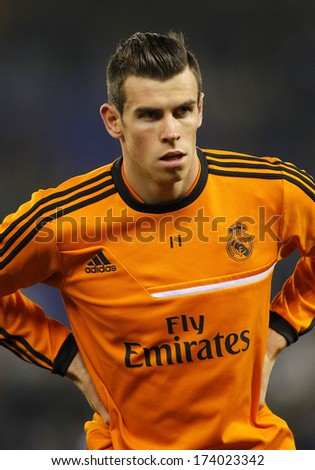 BARCELONA - JAN, 12: Gareth Bale of Real Madrid during the Spanish League match between Espanyol and Real Madrid at the Estadi Cornella on January 12, 2014 in Barcelona, Spain - stock photo