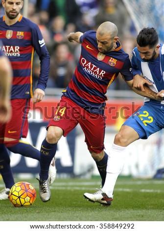 BARCELONA - JAN, 2: Javier Mascherano of FC Barcelona during a Spanish League match against RCD Espanyol at the Power8 stadium on January 2, 2016 in Barcelona, Spain - stock photo