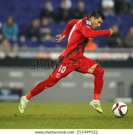 BARCELONA - JAN, 22: Jose Antonio Reyes of Sevilla FC during spanish League match against RCD Espanyol at the Estadi Cornella on January 22, 2015 in Barcelona, Spain - stock photo