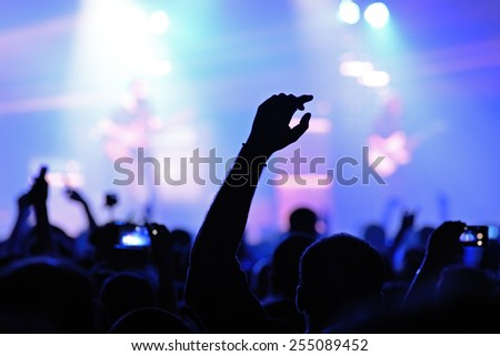 BARCELONA - JAN 29: Silhouette of the arm of a fan in a concert at Razzmatazz venue on January 29, 2015 in Barcelona, Spain. - stock photo