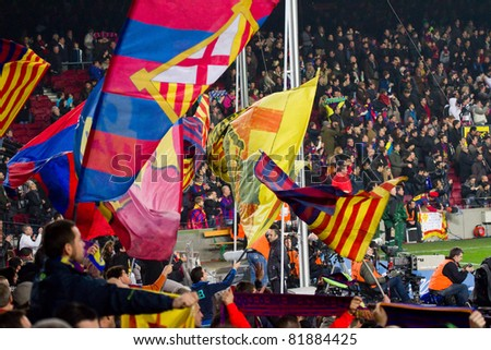 BARCELONA - JANUARY 16: Barcelona supporters during Spanish League match between FC Barcelona and Malaga, 4 - 1. January 16, 2011 in Camp Nou stadium, Barcelona, Spain. - stock photo