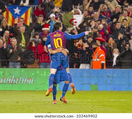 BARCELONA - JANUARY 4: Leo Messi celebrating his goal during the Spanish Cup match between FC Barcelona and Osasuna, final score 4 - 0, on January 4, 2012 in Camp Nou stadium, Barcelona, Spain. - stock photo