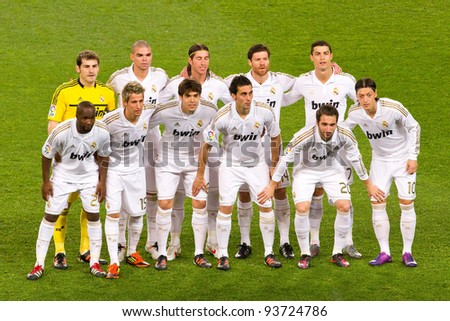BARCELONA - JANUARY 25: Real Madrid players lineup before the Spanish Cup match between FC Barcelona and Real Madrid, final score 2 - 2, on January 25, 2012, in Camp Nou, Barcelona, Spain. - stock photo