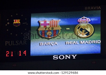 BARCELONA - JANUARY 25: Scoreboard of Camp Nou stadium during the Spanish Cup match between FC Barcelona and Real Madrid, final score 2 - 2, on January 25, 2012, in Camp Nou stadium, Barcelona, Spain. - stock photo