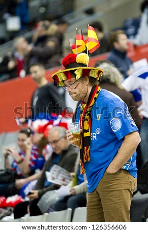 BARCELONA - JANUARY 25: Unidentified German supporter at the Handball World Championship semi-final between Spain and Slovenia, final score 26-22, on January 25, 2013, in Barcelona, Spain.