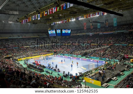 BARCELONA - JANUARY 25: View of Palau Sant Jordi stadium during the Handball World Championship semi-final between Denmark and Croatia, final score 30-24, on January 25, 2013, in Barcelona, Spain.