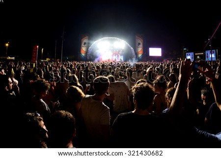 BARCELONA - JUL 10: Crowd in a concert at Cruilla Festival on July 10, 2015 in Barcelona, Spain. - stock photo