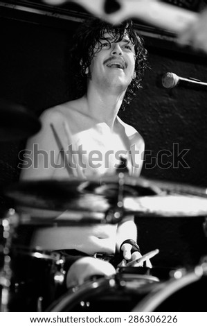 BARCELONA - JUL 22: The drummer of Shake Before Use (band) performs at Discotheque Rocksound stage on July 22, 2010 in Barcelona, Spain.