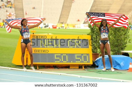 BARCELONA - JULY, 13: Ashley Spencer & Erika Rucker of USA with the counter  during the 20th World Junior Athletics Championships at the Olympic Stadium on July 13, 2012 in Barcelona, Spain - stock photo