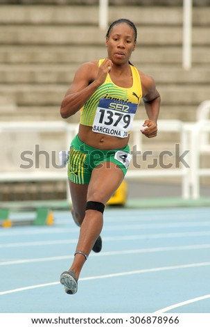 BARCELONA - JULY, 11: Chrisann Gordon of Jamaica in action on 400 meters of the 20th World Junior Athletics Championships at the Olympic Stadium on July 11, 2012 in Barcelona, Spain - stock photo