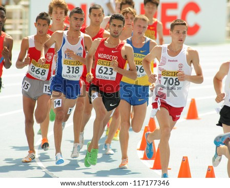 BARCELONA - JULY, 13:Competitors of 3000m steeplechase event during the 20th World Junior Athletics Championships at the Olympic Stadium on July 13, 2012 in Barcelona, Spain - stock photo