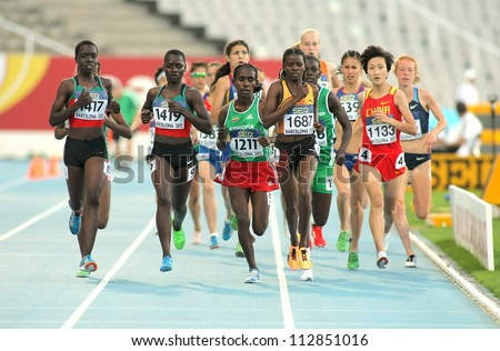 BARCELONA- JULY 11: Competitors of 5000 meters during the 20th World Junior Athletics Championships at the Olympic Stadium on July 10, 2012 in Barcelona, Spain - stock photo