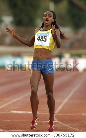 BARCELONA - JULY, 8: Ethiopian athlete Genzebe Dibaba during 1500 meters of the Athletics International Meeting of Catalan Federation at the Serrahima Stadium on July 8 2015 in Barcelona, Spain - stock photo