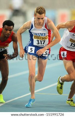 BARCELONA - JULY, 14: Francois Barrer of France competing during  5000 meters of the 20th World Junior Athletics Championships at the Olympic Stadium on July 14, 2012 in Barcelona, Spain - stock photo