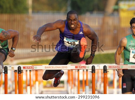 BARCELONA - JULY, 8: Jamaican athlete Dwight Thomas during 110 m hurdles of the Athletics International Meeting of Catalan Federation at the Serrahima Stadium on July 8 2015 in Barcelona, Spain - stock photo