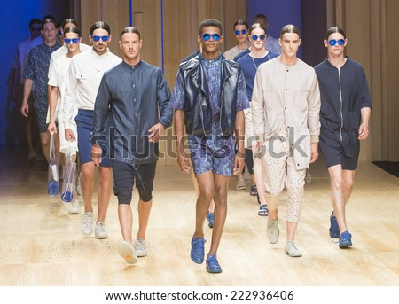 BARCELONA - JULY 01: models walking on the Georgina Vendrell catwalk during the 080 Barcelona Fashion runway Spring/Summer 2015 on July 01, 2014 in Barcelona, Spain.  - stock photo