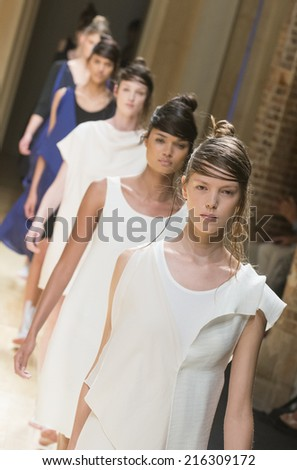 BARCELONA - JULY 02: models walking on the Who catwalk during the 080 Barcelona Fashion runway Spring/Summer 2015 on July 02, 2014 in Barcelona, Spain.  - stock photo
