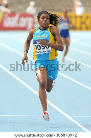 BARCELONA - JULY, 11: Rashan Brown of Bahamas in action on 400 meters of the 20th World Junior Athletics Championships at the Olympic Stadium on July 11, 2012 in Barcelona, Spain - stock photo
