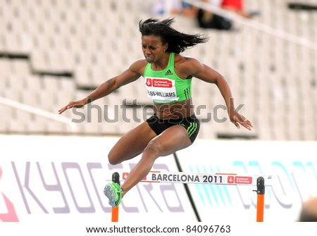 BARCELONA - JULY 22: Tiffany Ross-Williams of USA during of 400m hurdles Event of Barcelona Athletics meeting at the Olympic Stadium on July 22, 2011 in Barcelona, Spain - stock photo