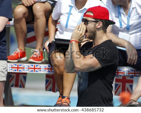 BARCELONA - JUN, 11: American swimming coach, of Katinka Hosszu, Shane Tusup during the Trophy Ciutat de Barcelona in Sant Andreu Club, June 11, 2016 in Barcelona, Spain - stock photo