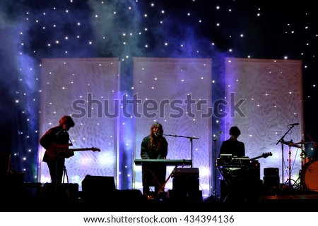 BARCELONA - JUN 3: Beach House (band) perform in concert at Primavera Sound 2016 Festival on June 3, 2016 in Barcelona, Spain.