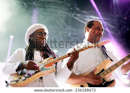 BARCELONA - JUN 14: Chic featuring Nile Rodgers (band) performs at Sonar Festival on June 14, 2014 in Barcelona, Spain. - stock photo