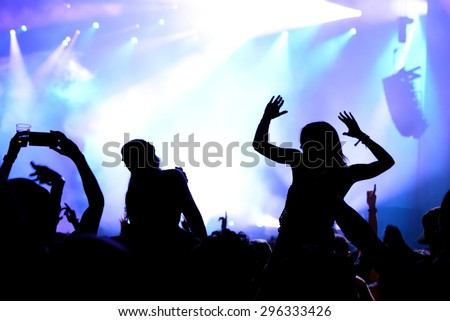BARCELONA - JUN 19: Crowd dance in a concert at Sonar Festival on June 19, 2015 in Barcelona, Spain.
