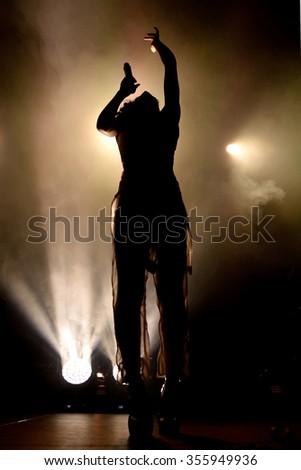 BARCELONA - JUN 20: FKA Twigs (band) in concert at Sonar Festival on June 20, 2015 in Barcelona, Spain. - stock photo