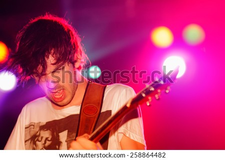 BARCELONA - JUN 4: Guitarist of The Black Box Revelation (band) performs at Discotheque Razzmatazz on June 4, 2010 in Barcelona, Spain. - stock photo