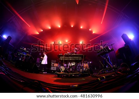 BARCELONA - JUN 19: Hot Chip (electronic music band) live performance at Sonar Festival on June 19, 2015 in Barcelona, Spain.