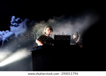 BARCELONA - JUN 19: Kiasmos (minimal and experimental techno duo) performs at Sonar Festival on June 19, 2015 in Barcelona, Spain.