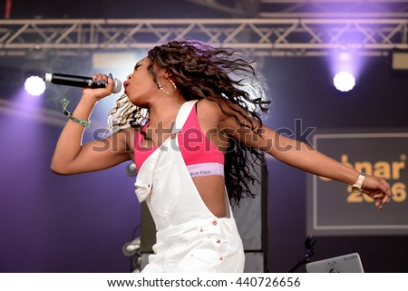 BARCELONA - JUN 16: Lady Leshurr (rapper, singer and producer) performs in concert at Sonar Festival on June 16, 2016 in Barcelona, Spain. - stock photo