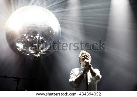 BARCELONA - JUN 2: LCD Soundsystem (band) perform in concert at Primavera Sound 2016 Festival on June 2, 2016 in Barcelona, Spain. - stock photo