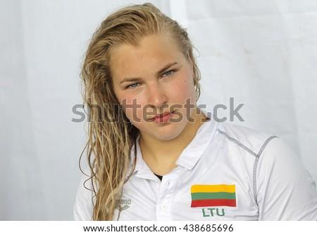 BARCELONA - JUN, 11: Lithuanian swimmer Ruta Meilutyte during the Trophy Ciutat de Barcelona in Sant Andreu Club, June 11, 2016 in Barcelona, Spain - stock photo