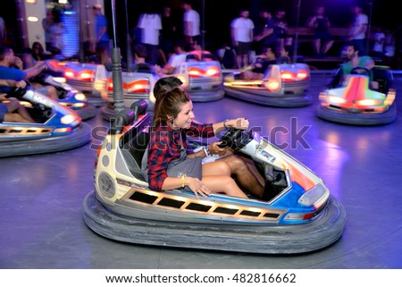 BARCELONA - JUN 19: People with bumper cars at Sonar Festival on June 19, 2015 in Barcelona, Spain.