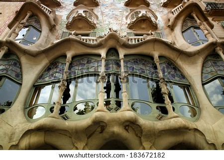 BARCELONA - JUNE 24: Details From the house Casa Battlo (also could the house of bones) designed by Antoni Gaudi with his famous expressionistic style on June 24, 2013 Barcelona, Spain - stock photo