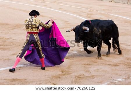 BARCELONA - JUNE 6: Finito de Cordoba in action during a corrida de toros, or bullfighting, on June 6, 2010 in Barcelona, Spain. It is a Spanish tradition where a torero or bullfighter kills a bull. - stock photo