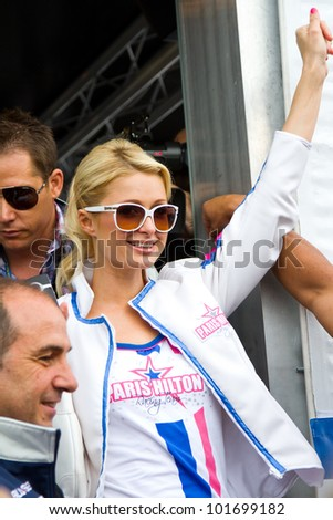 BARCELONA - JUNE 5: Paris Hilton visits Catalonia Circuit for the Moto GP Grand Prix weekend, on June 5, 2011 in Barcelona, Spain. - stock photo