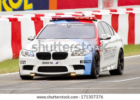 BARCELONA - JUNE 3: Safety car at the race of Moto2 Grand Prix of Catalunya, on June 3, 2012 in Barcelona, Spain. The winner was Andrea Iannone. - stock photo