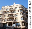 Barcelona La Pedrera facade by Gaudi architect in Paseo de Gracia - stock photo