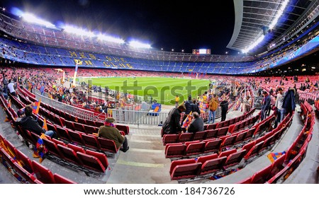 BARCELONA - MAR 12: A view of the Camp Nou Stadium before the football match between Futbol Club Barcelona and Manchester City of the Uefa Champions League Cup on March 12, 2014 in Barcelona, Spain. - stock photo