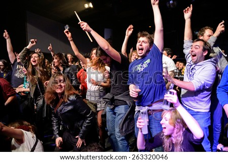 BARCELONA - MAR 18: Crowd in a concert at Bikini stage on March 18, 2015 in Barcelona, Spain. - stock photo