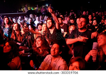 BARCELONA - MAR 18: Crowd in a concert at Bikini stage on March 18, 2015 in Barcelona, Spain.