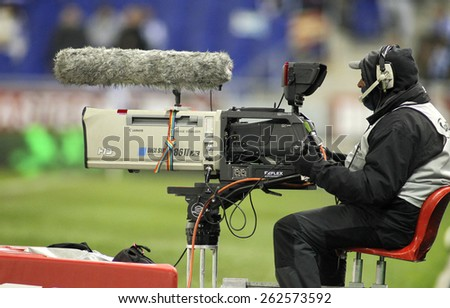 BARCELONA - MAR, 4: Television camera broadcasting football spanish league match at the Estadi Cornella on March 4, 2015 in Barcelona, Spain - stock photo