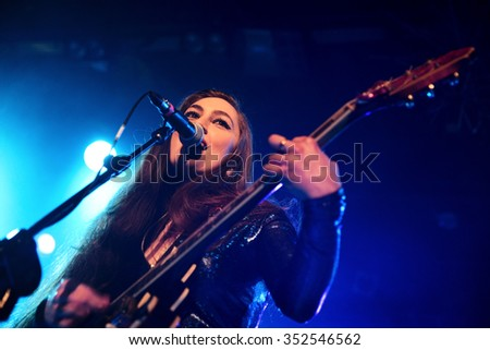 BARCELONA - MAR 7: The guitarist of Kitty, Daisy and Lewis (R&B, swing, blues, country and rockabilly band) performs at Bikini stage on March 7, 2015 in Barcelona, Spain.