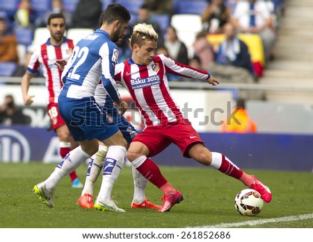 BARCELONA - MARCH, 14: Antoine Griezmann of Atletico Madrid during a Spanish League match against RCD Espanyol at the Estadi Cornella on March 14, 2015 in Barcelona, Spain - stock photo