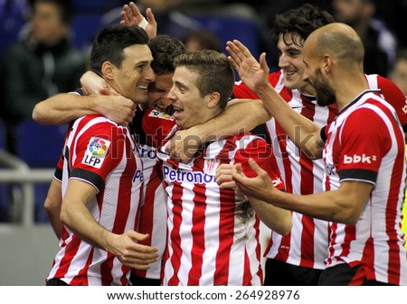 BARCELONA - MARCH, 4: Athletic de Bilbao players celebrating goal during a Spanish League match against RCD Espanyol at the Estadi Cornella on March 4, 2015 in Barcelona, Spain