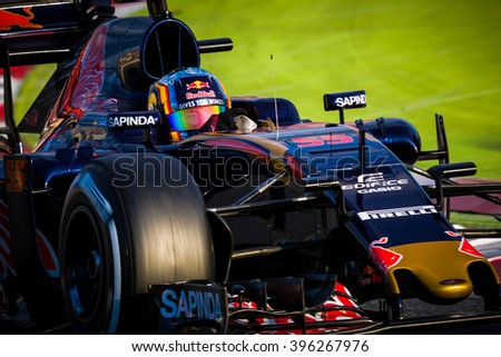 BARCELONA - MARCH 2: Carlos Sainz of Toro Rosso F1 Team at Formula One Test Days at Catalunya circuit on March 2, 2016 in Barcelona, Spain. - stock photo